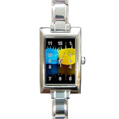 Bicolor Paintink Drop Splash Reflection Blue Yellow Black Rectangle Italian Charm Watch by AnjaniArt