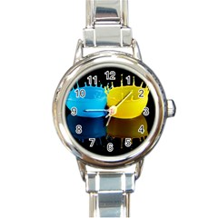 Bicolor Paintink Drop Splash Reflection Blue Yellow Black Round Italian Charm Watch