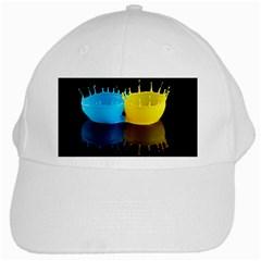 Bicolor Paintink Drop Splash Reflection Blue Yellow Black White Cap