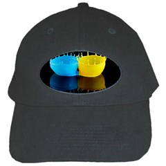 Bicolor Paintink Drop Splash Reflection Blue Yellow Black Black Cap