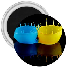 Bicolor Paintink Drop Splash Reflection Blue Yellow Black 3  Magnets