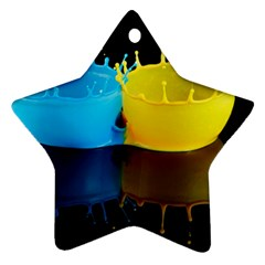 Bicolor Paintink Drop Splash Reflection Blue Yellow Black Ornament (star)