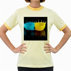 Bicolor Paintink Drop Splash Reflection Blue Yellow Black Women s Fitted Ringer T Shirts