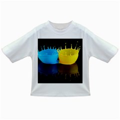 Bicolor Paintink Drop Splash Reflection Blue Yellow Black Infant/toddler T Shirts