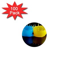 Bicolor Paintink Drop Splash Reflection Blue Yellow Black 1  Mini Magnets (100 Pack)