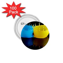 Bicolor Paintink Drop Splash Reflection Blue Yellow Black 1 75  Buttons (100 Pack)