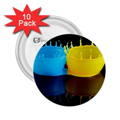 Bicolor Paintink Drop Splash Reflection Blue Yellow Black 2 25  Buttons (10 Pack)