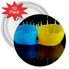 Bicolor Paintink Drop Splash Reflection Blue Yellow Black 3  Buttons (10 Pack)