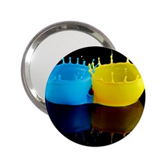 Bicolor Paintink Drop Splash Reflection Blue Yellow Black 2 25  Handbag Mirrors