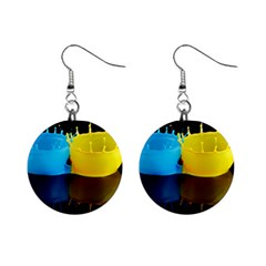 Bicolor Paintink Drop Splash Reflection Blue Yellow Black Mini Button Earrings
