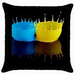 Bicolor Paintink Drop Splash Reflection Blue Yellow Black Throw Pillow Case (black)