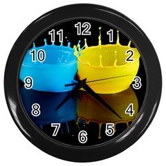 Bicolor Paintink Drop Splash Reflection Blue Yellow Black Wall Clocks (black)