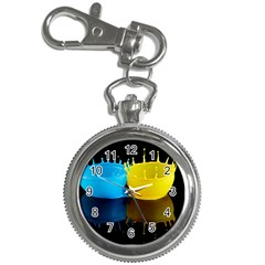 Bicolor Paintink Drop Splash Reflection Blue Yellow Black Key Chain Watches by AnjaniArt