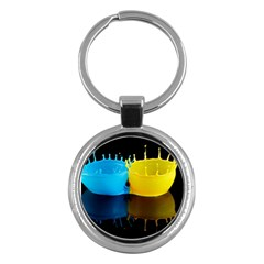 Bicolor Paintink Drop Splash Reflection Blue Yellow Black Key Chains (round)