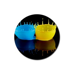 Bicolor Paintink Drop Splash Reflection Blue Yellow Black Rubber Round Coaster (4 Pack)  by AnjaniArt