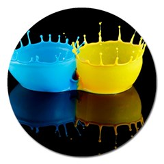 Bicolor Paintink Drop Splash Reflection Blue Yellow Black Magnet 5  (round) by AnjaniArt