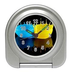 Bicolor Paintink Drop Splash Reflection Blue Yellow Black Travel Alarm Clocks