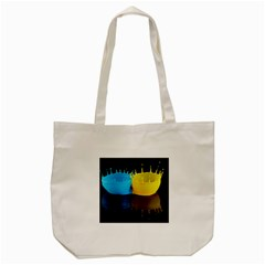 Bicolor Paintink Drop Splash Reflection Blue Yellow Black Tote Bag (cream) by AnjaniArt