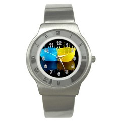 Bicolor Paintink Drop Splash Reflection Blue Yellow Black Stainless Steel Watch