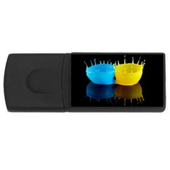 Bicolor Paintink Drop Splash Reflection Blue Yellow Black Usb Flash Drive Rectangular (4 Gb)