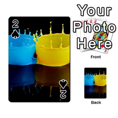 Bicolor Paintink Drop Splash Reflection Blue Yellow Black Playing Cards 54 Designs