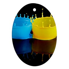 Bicolor Paintink Drop Splash Reflection Blue Yellow Black Oval Ornament (two Sides)
