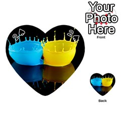 Bicolor Paintink Drop Splash Reflection Blue Yellow Black Playing Cards 54 (heart)