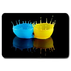 Bicolor Paintink Drop Splash Reflection Blue Yellow Black Large Doormat  by AnjaniArt