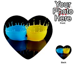 Bicolor Paintink Drop Splash Reflection Blue Yellow Black Multi Purpose Cards (heart)