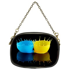 Bicolor Paintink Drop Splash Reflection Blue Yellow Black Chain Purses (two Sides)