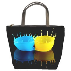 Bicolor Paintink Drop Splash Reflection Blue Yellow Black Bucket Bags