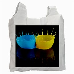 Bicolor Paintink Drop Splash Reflection Blue Yellow Black Recycle Bag (one Side)