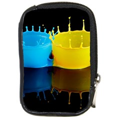 Bicolor Paintink Drop Splash Reflection Blue Yellow Black Compact Camera Cases