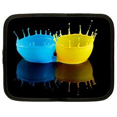 Bicolor Paintink Drop Splash Reflection Blue Yellow Black Netbook Case (xl)