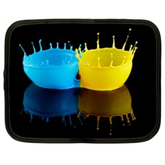 Bicolor Paintink Drop Splash Reflection Blue Yellow Black Netbook Case (xxl)
