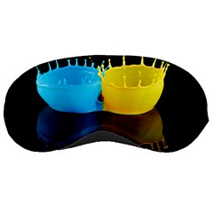 Bicolor Paintink Drop Splash Reflection Blue Yellow Black Sleeping Masks by AnjaniArt