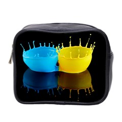 Bicolor Paintink Drop Splash Reflection Blue Yellow Black Mini Toiletries Bag 2 Side