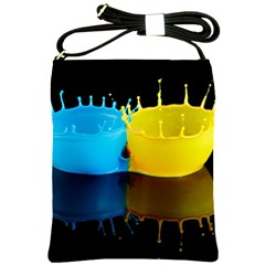 Bicolor Paintink Drop Splash Reflection Blue Yellow Black Shoulder Sling Bags