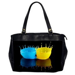 Bicolor Paintink Drop Splash Reflection Blue Yellow Black Office Handbags (2 Sides)