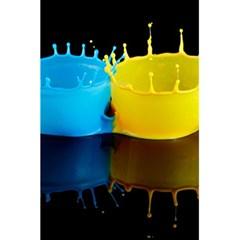 Bicolor Paintink Drop Splash Reflection Blue Yellow Black 5 5  X 8 5  Notebooks