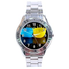 Bicolor Paintink Drop Splash Reflection Blue Yellow Black Stainless Steel Analogue Watch