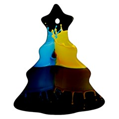 Bicolor Paintink Drop Splash Reflection Blue Yellow Black Ornament (christmas Tree)