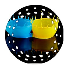 Bicolor Paintink Drop Splash Reflection Blue Yellow Black Round Filigree Ornament (2side)