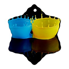 Bicolor Paintink Drop Splash Reflection Blue Yellow Black Snowflake Ornament (2 Side)