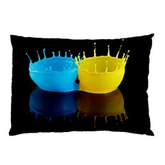 Bicolor Paintink Drop Splash Reflection Blue Yellow Black Pillow Case (two Sides)