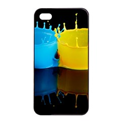 Bicolor Paintink Drop Splash Reflection Blue Yellow Black Apple Iphone 4/4s Seamless Case (black)