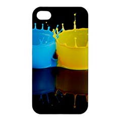 Bicolor Paintink Drop Splash Reflection Blue Yellow Black Apple Iphone 4/4s Hardshell Case
