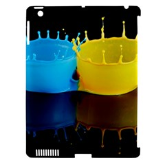 Bicolor Paintink Drop Splash Reflection Blue Yellow Black Apple Ipad 3/4 Hardshell Case (compatible With Smart Cover)