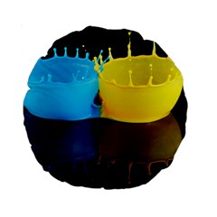 Bicolor Paintink Drop Splash Reflection Blue Yellow Black Standard 15  Premium Round Cushions