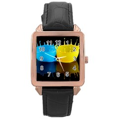 Bicolor Paintink Drop Splash Reflection Blue Yellow Black Rose Gold Leather Watch
